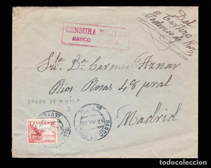 *** CARTA BARCO DE AVILA-MADRID 1939. FECHADOR AZUL Y CENSURA BARCO DE AVILA (ROJO) EDIFIL 917 *** (Sellos - España - Guerra Civil - De 1.936 a 1.939 - Cartas)