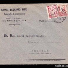 Sellos: *** CARTA CONSTANTINA-SEVILLA 1937. RARA CENSURA CONSTANTINA + 5 CTS AUXILIO DESVALIDOS SEVILLA ***. Lote 211490207