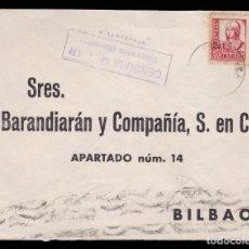 Sellos: *** CARTA VILLAFRANCA (NAVARRA)-BILBAO 1937. CENSURA MILITAR VILLAFRANCA + EDIFIL 823 ***. Lote 211493977