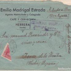 Sellos: CARTA DE HERRERA A JEREZ, FRANQUEO BISECTADO Y CENSURA DE ESTEPA VER DESCRIPCIÓN.. Lote 211573955