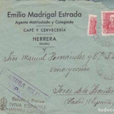 Sellos: CARTA DE HERRERA A JEREZ, FRANQUEO 857 Y TRISECTADO Y CENSURA DE ESTEPA VER DESCRIPCIÓN.. Lote 211574592