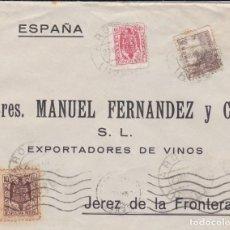 Sellos: CARTA DE AROCHE (HUELVA) A JEREZ CON SELLOS FISCALES MATASELLO FECHADOR. Lote 211575777