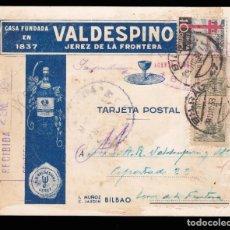 Sellos: ** TARJETA BILBAO-JEREZ DE LA FRONTERA 1938. BODEGAS VALDESPINO + 10 CTS PRO TUBERCULOSOS POBRES ***. Lote 211607561