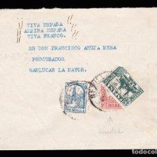 Sellos: *** CARTA SEVILLA-SANLUCAR LA MAYOR 1937. EDIFIL 806 - 823 BISECTADO Y LOCAL 5 CTS PRO SEVILLA ***. Lote 211612162