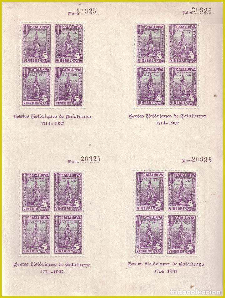 TARRAGONA VINEBRE GUERRA CIVIL, PLIEGO 4 HOJITAS FESOFI Nº 27 * * (Sellos - España - Guerra Civil - Locales - Nuevos)