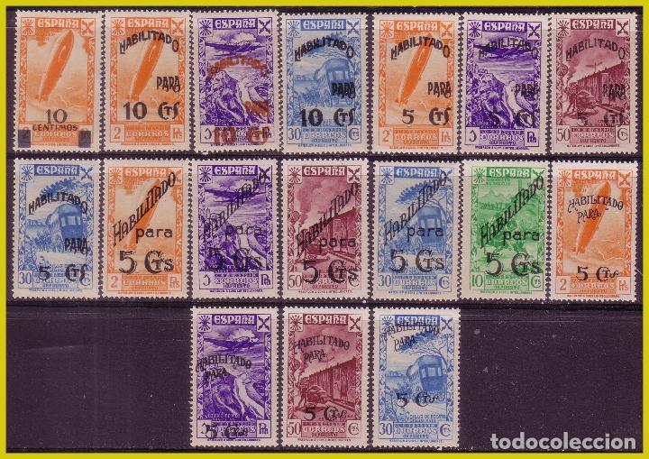 BENEFICENCIA 1940 SELLOS HISTORIA DEL CORREO HABILITADOS, EDIFIL Nº 36 A 52 * * (Sellos - España - Guerra Civil - Beneficencia)