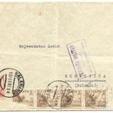 Sellos: 1937 CARTA GUERRA CIVIL. SALAMANCA A POLONIA.CENSURA SAN SEBASTIÁN.. Lote 211933653