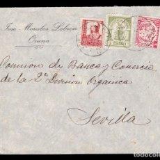 Sellos: *** CARTA OSUNA-SEVILLA 1937. RARO CIERRE CENSURA DE OSUNA + LOCAL OSUNA + AUXILIO DESVALIDOS ***. Lote 212003568