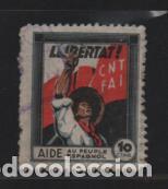 C.N.T. 10 CTS- AIDE AU PEUPLE ESPAGNOL- VER FOTO (Sellos - España - Guerra Civil - Viñetas - Usados)