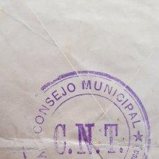 Timbres: GUERRA CIVIL CNT CARTA CONSEJO MUNICIPAL VELILLA DE CINCA HUESCA SELLO BICEPTADO. Lote 212252325