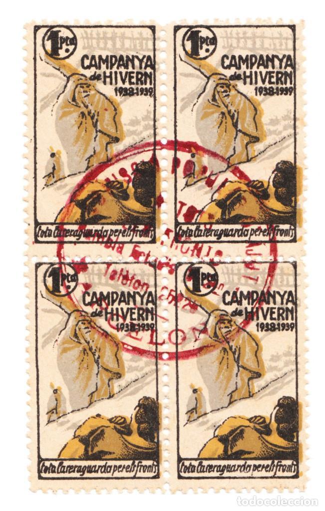 BLOQUE DE 4 CAMPANYA DE HIVER 1 PTAS 1938-39 (Sellos - España - Guerra Civil - De 1.936 a 1.939 - Usados)