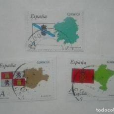 Sellos: 3 SELLOS DISTINTOS GALICIA NAVARRA CASTILLA Y LEON BANDERAS COMUNIDADES AUTONOMAS ESPAÑA CORREOS. Lote 213448685