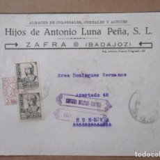 Timbres: FRONTAL CIRCULADA DE ZAFRA A HUELVA CON SELLO LOCAL Y CENSURA MILITAR. Lote 213521220