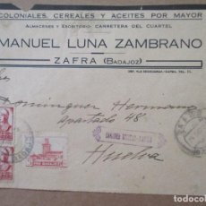 Timbres: FRONTAL 1937 CIRCULADA DE ZAFRA A HUELVA CON SELLO LOCAL Y CENSURA MILITAR. Lote 213521242