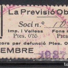 Sellos: LA PREVISIÓ OBRERA, BARCELONA, 45 C + 55 C + 15 C NEGRO, (AL.118). Lote 213586927