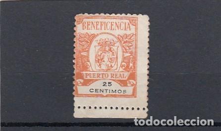 PUERTO REAL ( CÁDIZ ). SELLO USADO DE BENEFICENCIA. 25 CENTIMOAS. (Sellos - España - Guerra Civil - Locales - Usados)