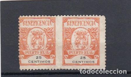 PUERTO REAL ( CÁDIZ ). PAREJA DE SELLOS USADOS DE BENEFICENCIA. 25 CENTIMOAS. (Sellos - España - Guerra Civil - Locales - Usados)