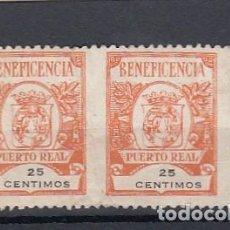 Sellos: PUERTO REAL ( CÁDIZ ). PAREJA DE SELLOS USADOS DE BENEFICENCIA. 25 CENTIMOAS.. Lote 213703296