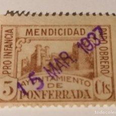 Sellos: PONFERRADA. LEON. PRO INFANCIA, MENDICIDAD Y PARO OBRERO. 5 CENTIMOS. Lote 213745333