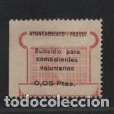 Sellos: PRAVIA-ASTURIAS- 0,05 PTAS-VARIEDAD- SUBSIDIO PARA COMBATIENTES VOLUNTARIOS- REVERSO-CALCADO-. Lote 213820247