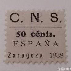 Sellos: ZARAGOZA. CNS. CUOTA 50 CENTIMOS. 1938. Lote 213881843