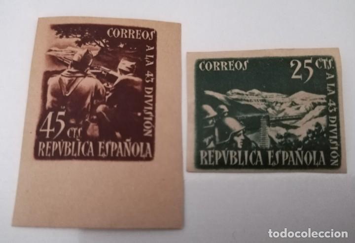 CORREOS A LA 43 DIVISIÓN. LOTE DOS VALORES, SIN DENTAR. (Sellos - España - Guerra Civil - De 1.936 a 1.939 - Nuevos)