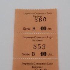 Sellos: BURSAJOT. VALENCIA. IMPUESTO AL LUJO. TIRA DE 4 CUPONES, 10 CÉNTIMOS, CORRELATIVOS. SIN USO. Lote 213883273