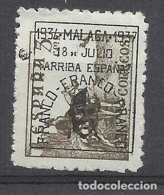 CID 1937 SOBRECARGADO MALAGA FRANCO ARRIBA ESPAÑA EDIFIL 41 NUEVO** SOBRECARGA NEGRA (Sellos - España - Guerra Civil - Locales - Nuevos)