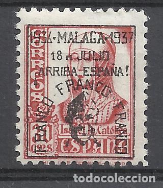 ISABEL DE CASTILLA 1937 SOBRECARGADO MALAGA FRANCO ARRIBA ESPAÑA EDIFIL 44 NUEVO* (Sellos - España - Guerra Civil - Locales - Nuevos)
