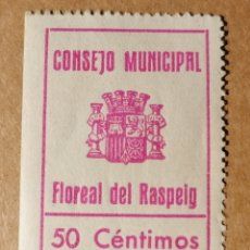 Sellos: FLOREAL DEL RASPEIG. CONSEJO MUNICIPAL. 50 CÉNTIMOS. NUEVO CON GOMA. Lote 214110092
