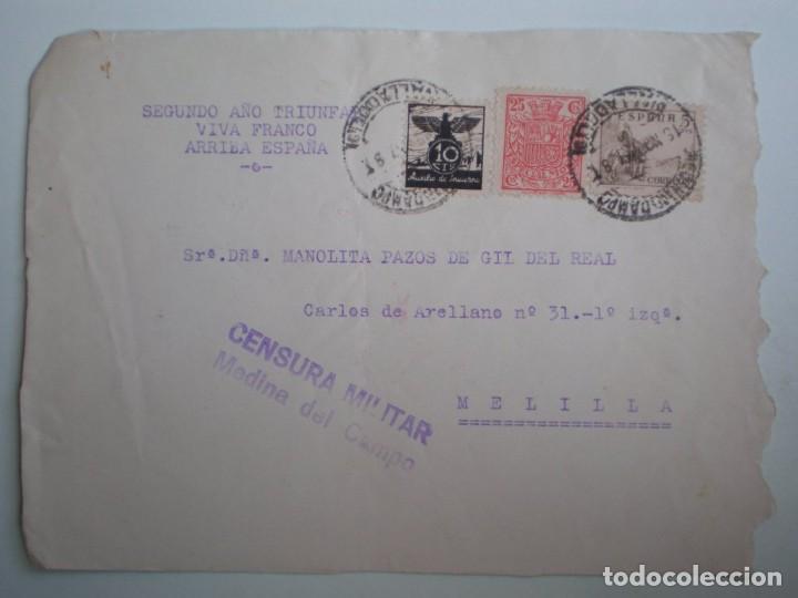 GUERRA CIVIL FRONTAL SOBRE AÑO 1937 CENSURA MEDINA DEL CAMPO Y CIRCULADO CON MÓVIL REPUBLICANO (Sellos - España - Guerra Civil - De 1.936 a 1.939 - Cartas)