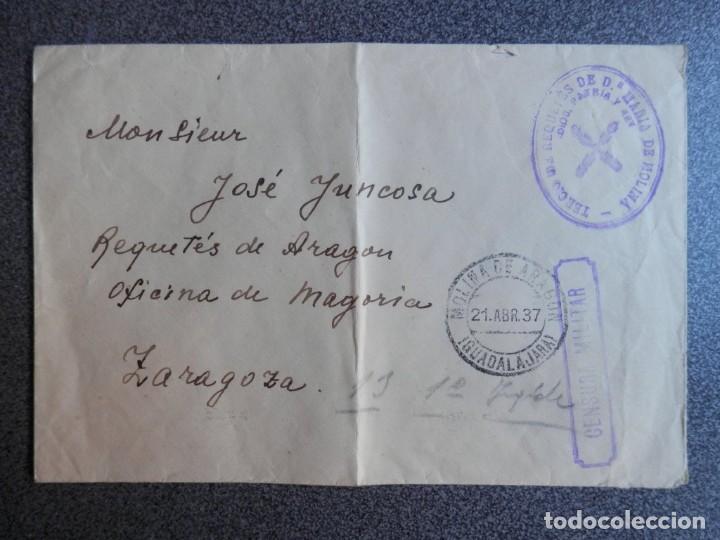 GUERRA CIVIL CARLISMO AÑO 1937 TERCIO DE REQUETÉS Mª DE MOLINA Y CENSURA LUJO (Sellos - España - Guerra Civil - De 1.936 a 1.939 - Cartas)