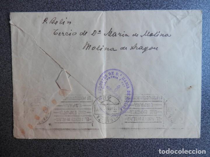 Sellos: GUERRA CIVIL CARLISMO AÑO 1937 TERCIO DE REQUETÉS Mª DE MOLINA Y CENSURA LUJO - Foto 2 - 214693912