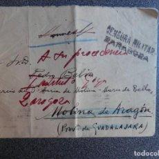 Sellos: GUERRA CIVIL AÑO 1937 SOBRE CARLISTAS ARAGÓN - SELLO TINTA REQUETÉS DE ARAGÓN Y CENSURA. Lote 214694547