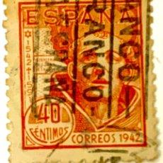 """Sellos: SELLO ESPAÑA 1942 SAN JUAN DE LA CRUZ . NARANJA 40 CENTIMOS CON MATASELLOS """" ANCO RANCO ESPAÑA """". Lote 215048335"""