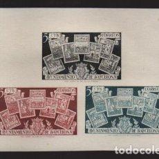 Sellos: BARCELONA,- HOJITA SIN DENTAR- 3 COLORES,. VER FOTO. Lote 215326667