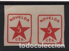 NOVELDA, 5 CTS, PAREJA SIN DENTAR.-N/C. VER FOTO (Sellos - España - Guerra Civil - Locales - Nuevos)