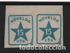 NOVELDA, 15 CTS, PAREJA SIN DENTAR.-N/C. VER FOTO (Sellos - España - Guerra Civil - Locales - Nuevos)
