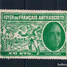 Sellos: GUERRA CIVIL FOYER DU FRANCAIS GENERAL POZAS VERDE 10 CTMS * LOT015. Lote 215528783