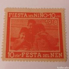 Sellos: FIESTA DEL NIÑO, FESTA DEL NEN. 10 CENTS. 1938. Lote 215782082