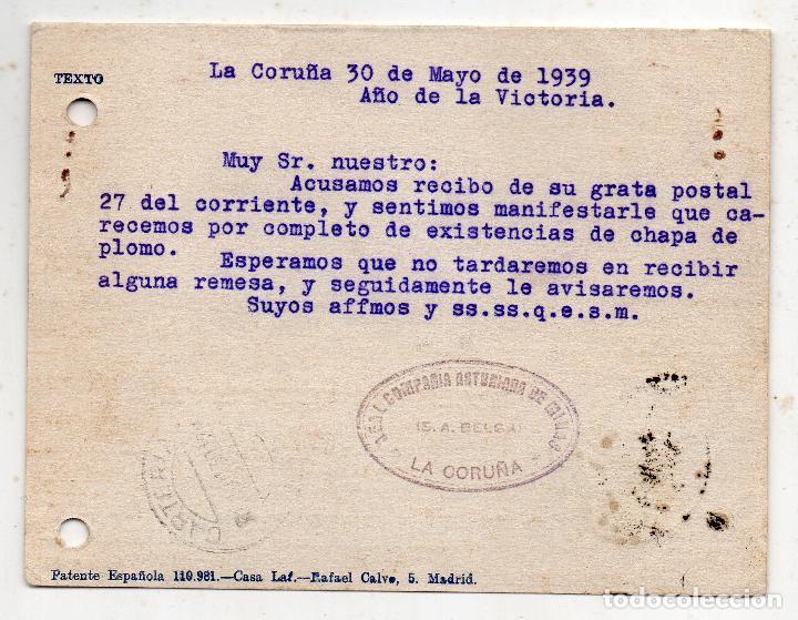 Sellos: Tarjeta de la Real Compañía Asturiana de Minas. Censura Militar la Coruña. Año 1939. - Foto 2 - 215868250