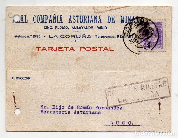 TARJETA DE LA REAL COMPAÑÍA ASTURIANA DE MINAS. CENSURA MILITAR LA CORUÑA. AÑO 1939. (Sellos - España - Guerra Civil - De 1.936 a 1.939 - Cartas)