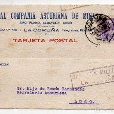 Sellos: TARJETA DE LA REAL COMPAÑÍA ASTURIANA DE MINAS. CENSURA MILITAR LA CORUÑA. AÑO 1939.. Lote 215868250