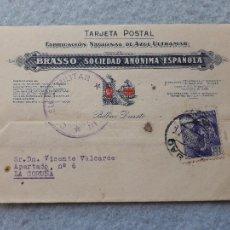 Sellos: TARJETA BRASSO SOCIEDAD ANÓNIMA ESPAÑOLA. BILBAO - DEUSTO. CENSURA MILITAR. 12 DE SEPTIEMBRE 1939.. Lote 216357657