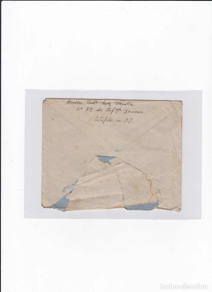 Sellos: Sobre + carta. Censura militar. 2ª Compañia de infanteria de Marina del....Batallón Expedicionario. - Foto 2 - 216490965