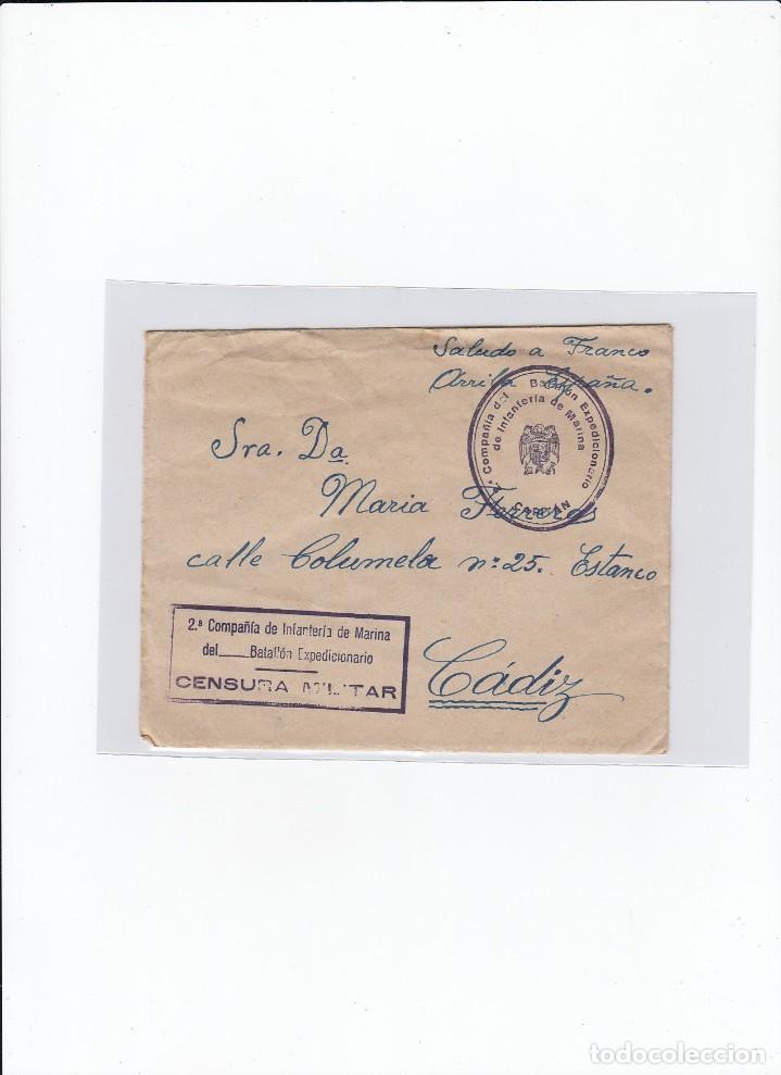 SOBRE + CARTA. CENSURA MILITAR. 2ª COMPAÑIA DE INFANTERIA DE MARINA DEL....BATALLÓN EXPEDICIONARIO. (Sellos - España - Guerra Civil - De 1.936 a 1.939 - Cartas)