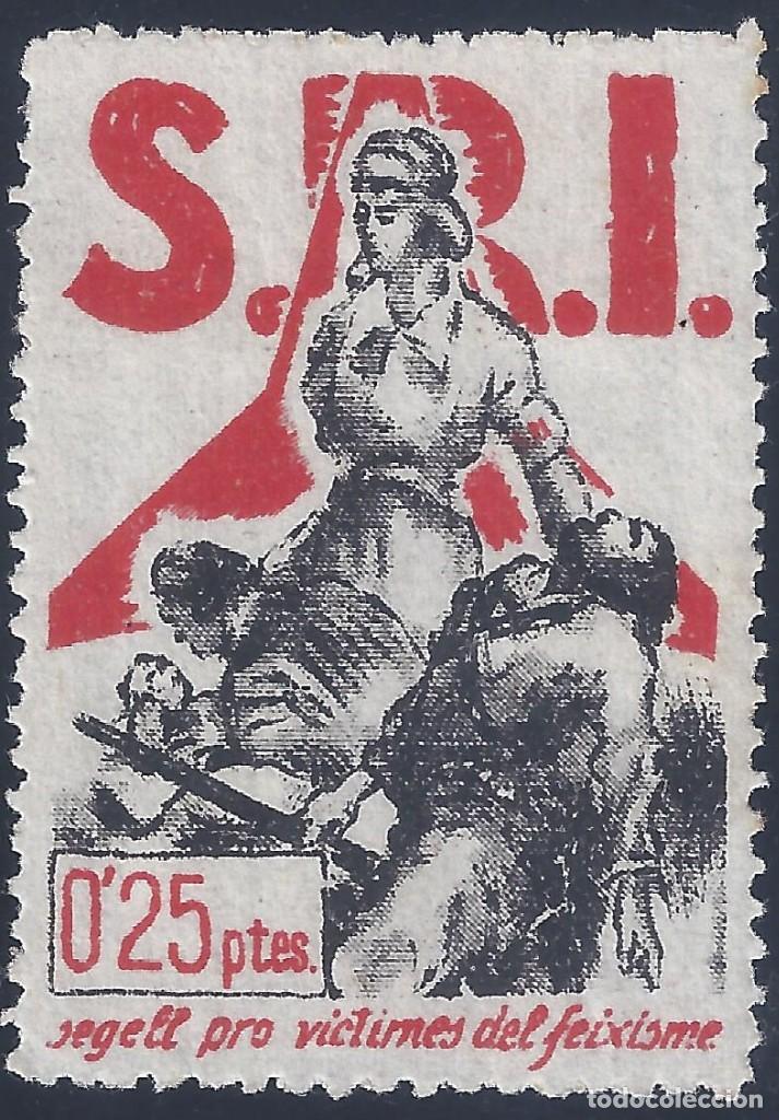 Sellos: S.R.I. SEGELL PRO-VICTIMES DEL FEIXISME 1937 (VARIEDAD..CALCADO). GUILLAMÓN 1605. RARO ASÍ. MNH ** - Foto 2 - 216564946