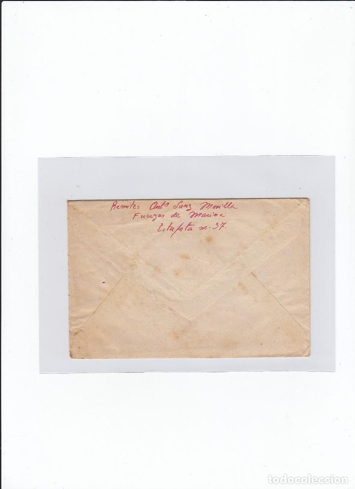 Sellos: Sobre + carta. Censura militar. 2ª Compañia de infanteria de Marina del....Batallón Expedicionario. - Foto 2 - 216597317