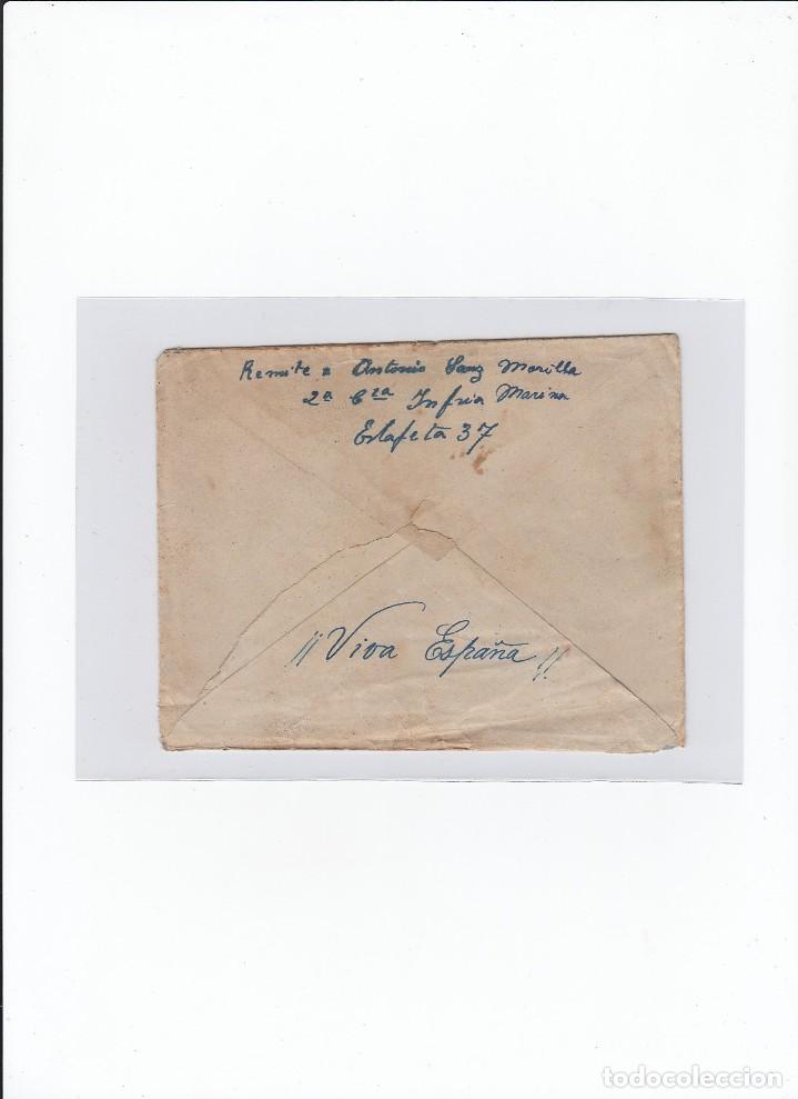 Sellos: Sobre + carta. Censura militar. 2ª Compañia de infanteria de Marina del....Batallón Expedicionario. - Foto 2 - 216598810