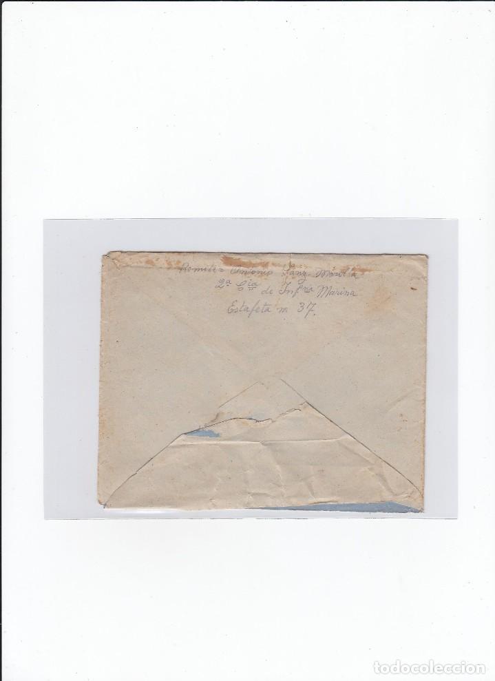 Sellos: Sobre + carta. Censura militar. 2ª Compañia de infanteria de Marina del....Batallón Expedicionario. - Foto 2 - 216599175